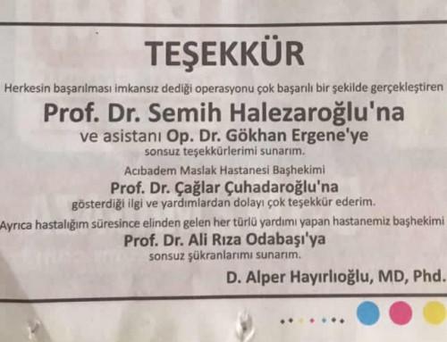 D. Alper Hayırlıoğlu'nun teşekkür ilanı